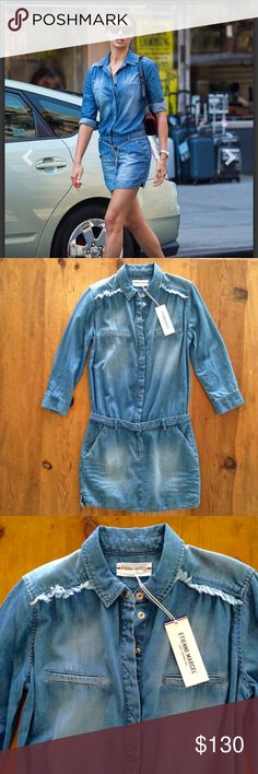Etienne Marcel chambray/denim shirt dress NWT Luxuriously soft denim shirt dress from Etienne Marcel Los Angeles.  This is an amazing dress.  Looks like two pieces but is one.  Button-up front from waist to neck with snaps.  So versatile!  NWT Entienne Marcel Dresses Long Sleeve