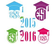 Graduation caps monogram frame designs 2015 & 2016, SVG, DXF, EPS, use with Silhouette Studio and Cricut Design Space. Vinyl cutting files. by ESIdesignsdigital on Etsy https://www.etsy.com/listing/226404988/graduation-caps-monogram-frame-designs