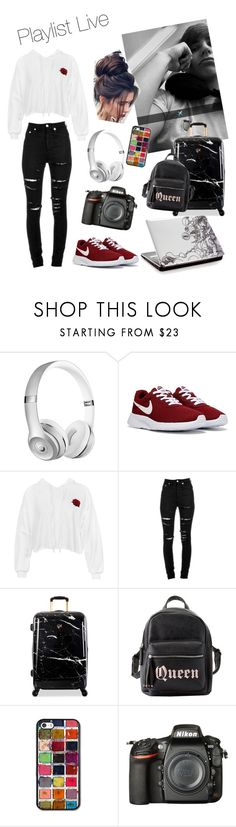 """""""Flying to Playlist Live W/ Colby"""" by lilafur ❤ liked on Polyvore featuring Sans Souci, Yves Saint Laurent, Heys, Charlotte Russe and Nikon"""