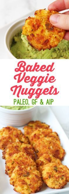 Paleo Baked Veggie Nuggets (AIP, gluten free, dairy free) Use aquafaba instead of gelatin egg, see about reducing/replacing coconut oil.