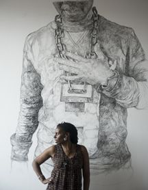 Barbara Walker is artist in residence at Lakeside - come see her amazing and absolutely gigantic drawings from 16th February