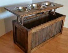 Image result for wooden dog bowl stand