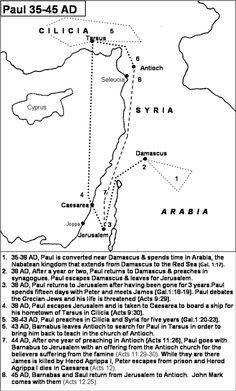 Map showing travels of Philip the Evangelist. See Acts 6:5