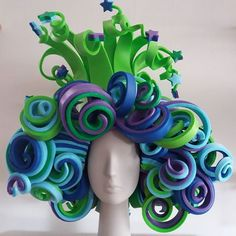 Funky Hats, Crazy Hats, Costume Wigs, Costume Makeup, Foam Crafts, Diy And Crafts, Pink Elephants On Parade, Foam Wigs, Wig Hat