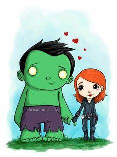 Hulk and Black Widow by Chris Uminga.