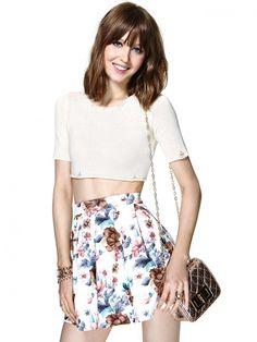High Waisted Floral Pleated Skirt