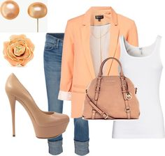Peach blazer and denim outfit. Look Fashion, Fashion Outfits, Womens Fashion, Fashion Trends, Looks Style, Style Me, Peach Blazer, Coral Blazer, Orange Blazer