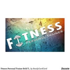 Fitness Personal Trainer Bold Text Dumbbell Logo Business Card Coach Sportif Inspiration
