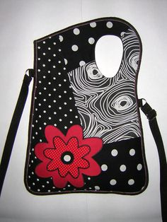 MEDIUM CANVAS BAG  cross body -Sling Bag- travel tote wallet purse- hip bag spotted Polka dots mixed fabrics in Black-Red-White  with Flower