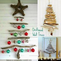 Deck the Walls with Driftwood Trees. DIY Wall Trees. Featured on Completely Coastal: http://www.completely-coastal.com/2014/11/coastal-christmas-wall-decor.html