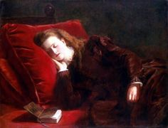 Fallen Asleep While Reading' (1873) by William Powell Frith (1819-1909)