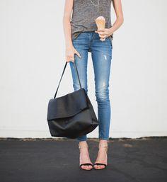Celine all soft bag, Rich & Skinny jeans, Alexandre Birman heels.