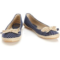 Navy Polka Dot Shoe ($26) ❤ liked on Polyvore featuring shoes, flats, zapatos, sapatos, bow flats, flat shoes, navy flats, navy blue flats and flat heel shoes
