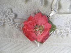 Pink Larkspur Pressed Flower Square Glass by giftforallseasons