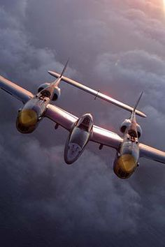 P-38 Lightning, four 50. cal. and one 20mm cannon, all concentrated in the nose. Richard I. Bong scored 40 kills in the Pacific Theater in the P-38.
