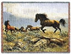 Be free and confident with this Distant Horses WovenTapestry Throw. Horses running in the mountain in amazing colors and craftsmanship.