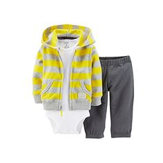Carters Baby Boys Cardigan Bodysuit Pants Set 24 Months >>> You can get additional details at the image link. Sporty Outfits, Baby Boy Outfits, Kids Outfits, Newborn Boy Clothes, Cute Baby Clothes, Niñas Carters Baby, Kids Fashion Boy, Hooded Cardigan, Cool Baby Stuff