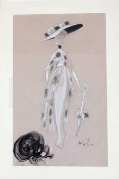 Cecil Beaton costume design for `My Fair Lady', the Ascot scene, 1964, signed Beaton