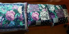 Set-of-3-throw-pillows-purple-pink-blue-teal-FLORAL-fabric-HANDMADE