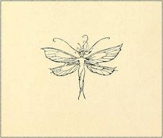 Fairy marginalia graphic by Arthur Rackham - Peter Pan in Kensington Gardens Tattoos Dainty Tattoos, Pretty Tattoos, Small Tattoos, Cool Tattoos, Small Fairy Tattoos, Tatoos, Key Tattoos, Sleeve Tattoos, Fairy Wing Tattoos