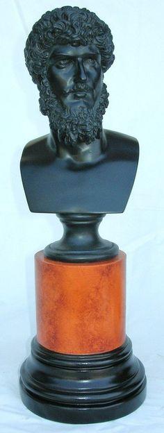 Lucius Verus Black Bust Sculpture on Sienna Socle