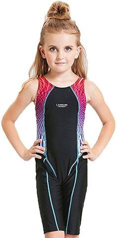 bcc4b8e8f2346 Amazon.com  Peacoco Kids Girls  Solid Splice Athletic One-Piece Swimsuits  Racerback Competive Legsuit For 5-6 years  Sports   Outdoors