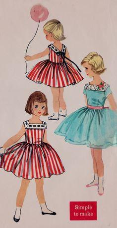 ヴィンテージ50年代のシンプルVバックネックラインとフルスカートヴィンテージ縫製パターンサイズ2と2518年の幼児の女の子のノースリーブワンピース