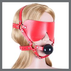 Pu Leather Open Mouth Gag Red Ball Bdsm Fetish Blindfold Adult Sex Toys Juguetes Sexuales Para Parejas Sex Products For Couples