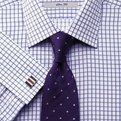 Blue twill grid check shirts from Charles Tyrwhitt. No better feeling than Egyptian Cotton. Dress Shirt And Tie, Suit And Tie, Dress Shirts, Purple Fashion, Suit Fashion, Mens Fashion, Formal Shirts For Men, Men Formal, Professional Dresses