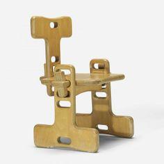 // Luigi Colani; Ash Plywood Knockdown Chair, 1977.