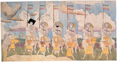 HENRY DARGER, At Jullo Callio via Norma They are captured by the Glandelinians, Mid-20th century. Watercolor, pencil, and carbon tracing on pieced paper,  19.15 x 36.5 in.