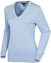 Tommy Hilfiger Ingrid V-Neck Sweater in Skyway blue