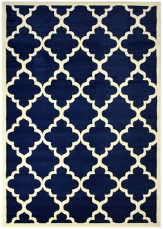 "Modela Collection Trellis Modern Area Rug Rugs (Navy Blue, 7'9""x9'10"")"