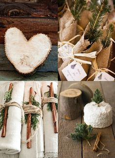 with birch tree napkin rings, sprig of pine and cinnamon sticks would be perfect under them