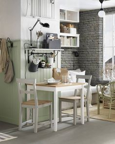 LERHAMN Table, light antique stain, white stain - Get full product details - IKEA Ikea Lerhamn, Small Kitchen Table Sets, Kitchen Small, Small Kitchens, Small Tables, Kitchen Ideas, Kitchen Decor, Booth Decor, White Stain