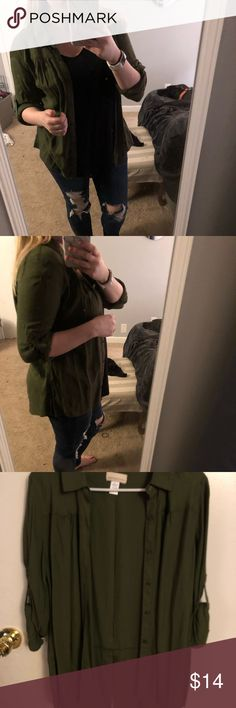 Canyon River Blues Military Green Button Up Wear it by itself, or a cute cami under it! Canyon River Blues Tops Button Down Shirts