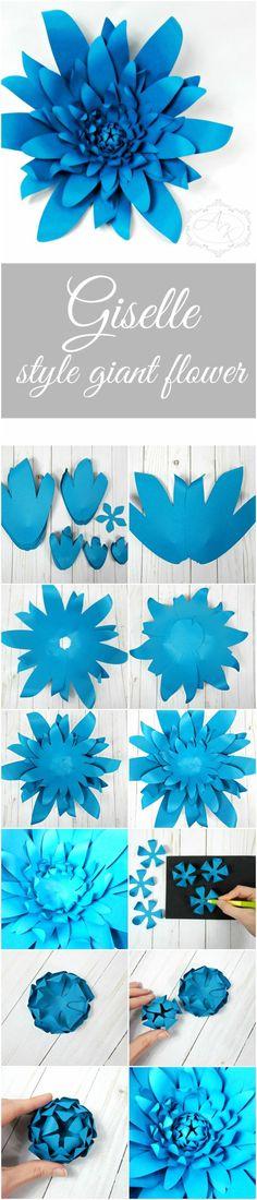 Giant DIY Paper flower templates with instructions- Large Backdrop Paper flowers- DIY wedding decor- Paper decor. #DIY