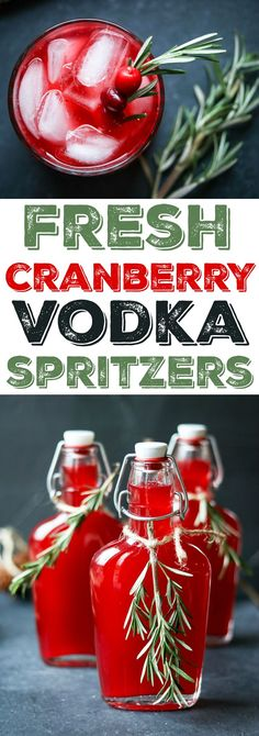 holiday cocktails If youve never tried a fresh cranberry vodka, heres your chance! All you need is a bag of cranberries, a bottle of vodka, and a blender. For this recipe Ive added homemade rosemary simple syrup to create a festive holiday cocktail! Party Drinks, Cocktail Drinks, Fun Drinks, Yummy Drinks, Alcoholic Drinks, Beverages, Drinks Alcohol, Cocktail Gifts, Vodka Drinks