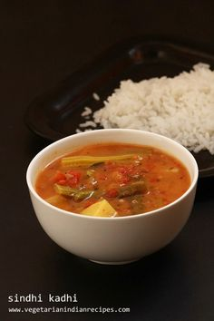 Sindhi kadhi is a tasty side dish for rice made with a combination of vegetables.  The method of preparation is very similar to South Indian sambar except for a few ingredients.  (Sindhi is a province in Pakistan.)