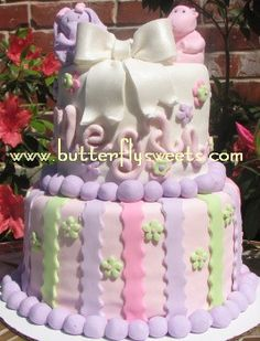 Girly zoo animal cake by Butterfly Sweets