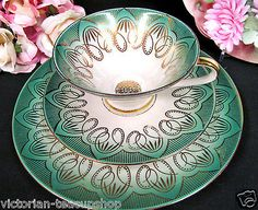 BAVARIA GERMANY TEA CUP AND SAUCER TRIO GREEN & GOLD GILT PATTERN TEACUP