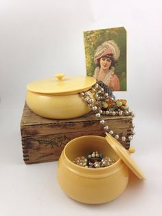 Vintage French Ivory Powder Jar - Set of 2, Ivorine Trinket Boxes, Vanity Powder Container from 1920's to 1930's