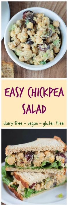 Chickpea Salad - only 10 minutes and a handful of ingredients is all you need to make this delicious salad! It's always a huge hit at parties. Serve it with crackers, over lettuce, or between two slices of bread, either way you've got yourself a winner!