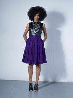 Gugulethu pleated skirt in purple Masaai shuka by Tatusi