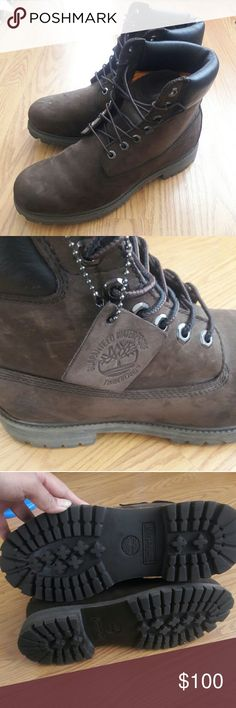 Mens Timberland boots Dark brown mens Timberlands. never worn. a few scuffs from moving but nothing very noticeable.Box not included. Timberland Shoes Boots