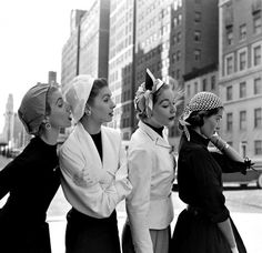 Models(Suzy Parker 2nd from left) wearing colorful bandanas photographed by Gordon Parks for LIFE, NY, 1952