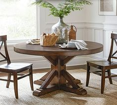 Benchwright Fixed Pedestal Dining Table #potterybarn