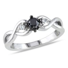1/3 CT. T.W. Enhanced Black and White Diamond Three Stone Twist Ring in Sterling Silver - View All Rings - Zales
