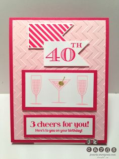 Stampin' Up!, Tracey B'day 2013, Happy Hour, Memorable Moments, Hearts a Flutter, Hearts a Flutter Framelits, Chevron Embossing Folder