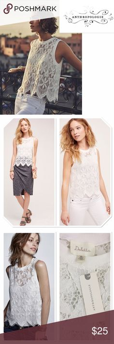 """NWT Anthropologie scalloped lace tank XL NWT Anthropologie scalloped lace tank XL in white. Polyester lace. Length about 22 1/2"""" Anthropologie Tops Tank Tops"""
